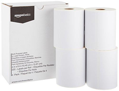 AmazonBasics Multi-Purpose Labels for Label Printers, White,  4'' x 6'', 220 Labels per Roll, 4 Rolls (Printers Wide 4')