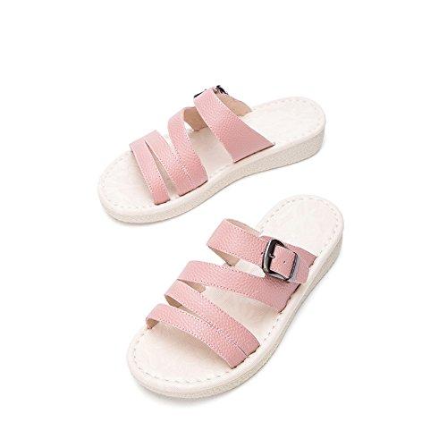 Sandali tacco piatti con Sandali Pantofole moda da 38 DHG donna tacco Rosa Sandali alla alti Tacchi casual estivi a basso basso 7wFxfq