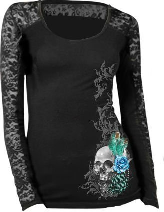 Lethal Threat Women's Long Sleeve Shirt (Peacock Feather Skull Lace Sleeves)(Black, Large), 1 Pack