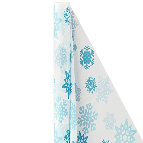 White Snowflake Plastic Table Cover Roll | Party Tableware