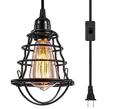 INNOCCY Industrial Plug in Pendant Light Vintage Hanging Cage Pendant Lighting E26 E27 Mini Pendant Light Edison Plug in Light Fixture On/Off Switch