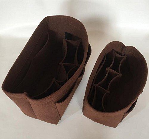 Foucome Felt Insert Purse Organizer Handbag Cosmetic Multi-Pocket Insert Bag for Women Brown Medium by Foucome (Image #1)
