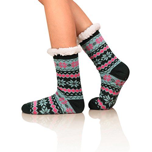 Womens Winter Super Soft Fleece Lining Fuzzy Knit Stockings-Warm Snowflake Christmas Knee Highs Slipper Socks, One size, C (Plus Lined Stockings Size)
