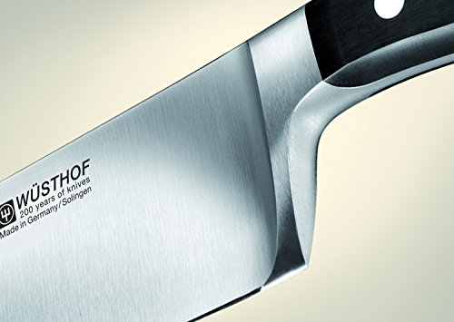Wusthof Classic Bread Knife 3 Long serrated 9-inch blade with triangular tip best for bread slicing Forged high-carbon stainless steel blade, hand-honed for razor-like sharpness Traditional-style composition handle is triple-riveted for strength and permanence