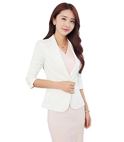 MWW Juniors Casual Work Office Blazer OL Long Sleeve Suits Slim Fit One Button Jacket White Blazer Cotton Spandex Blazer