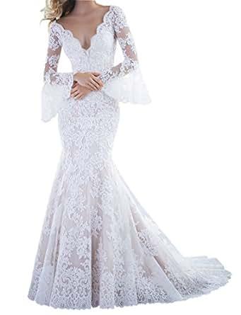 Wanhua Vintage Mermaid Low Back Poetic Sleeves Lace Wedding Dress ...