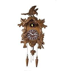 14-inches Quartz Traditional 14-inch Classic Eagle and squirrel Cuckoo Clock, Home Decor, Specialty Quality, Quartz Timepieces - C00191