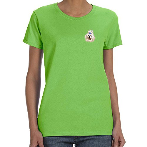 Cherrybrook Dog Breed Embroidered Womens T-Shirts - X-Large - Lime - Maltese