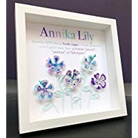 Personalized Name Origin and Meaning Paper Hibiscus Shadowbox Baby Girl Frame Custom Art Newborn Baby Shower Nursery Decor Baby Girl Gift