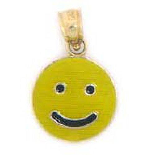 (10k Solid Yellow Gold Happy Face Enamel Pendant )
