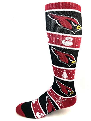 For Bare Feet NFL Arizona Cardinals Red and Maroon Snowman Long Crew Socks - Size Medium