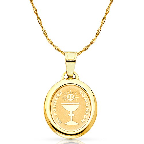 14K Yellow Gold Communion Charm Pendant with 1.8mm Singapore Chain Necklace - 22
