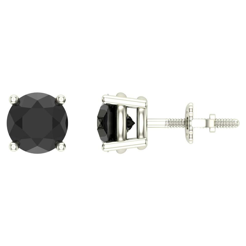 1//2-4 ct tw Black Diamond Stud Earrings Round Brilliant Solid 14K Gold Setting Glitz Design GD3033