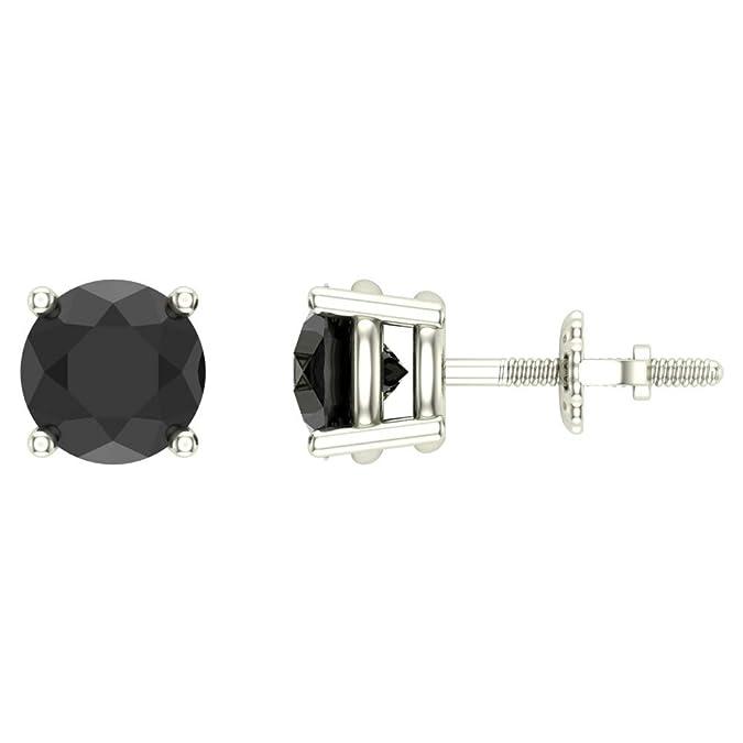 80c5519c0 Amazon.com: 3/4 ct tw Natural Black Natural Round Diamond Studs 14K Gold  Screw Back: Jewelry