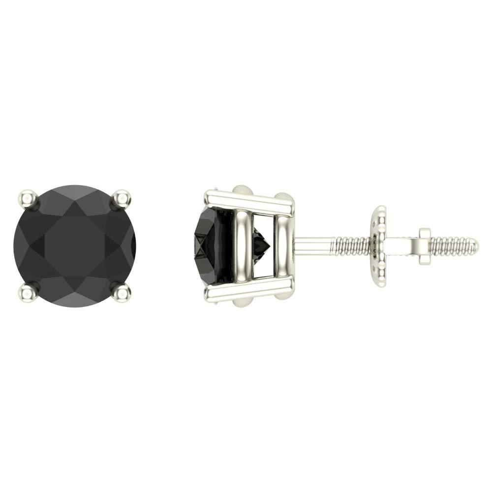 Round Cut Black Diamond Stud Earrings 2.00 carat total weight 14K White Gold
