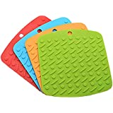 Hot Pads for Cooking, Silicone Pot Holders Mats, Heat Resistant Hot Pads for Table Set of 4pcs (6.7 x 6.9 Inch)