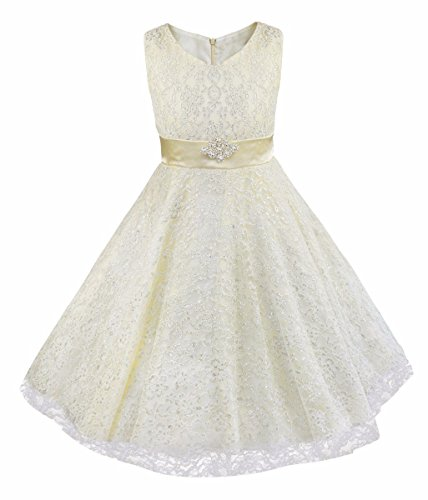 IEFiEL Kids Big Girls V-Neck Lace Flower Dress Graduation Pageant Ball Gown Ivory 6