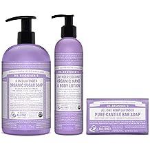 Dr. Bronner's 3-Piece Organic Lavender Gift Set - (1) Sugar Pump Soap 24-Ounces, (1) Body Lotion, (1) Castile Bar Soap