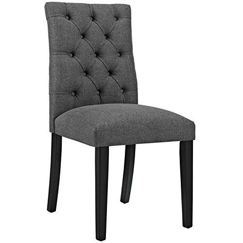 Modway Duchess Modern Elegant Button-Tufted Upholstered Fabric Parsons Dining Side Chair in Gray