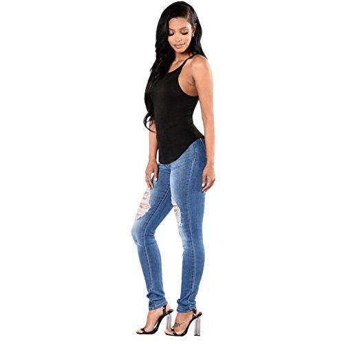 Ginocchio Sentao Stile Leggings Donna Strappati Vintage Pantaloni Scarni Jeans Skinny 2 ErrqHB