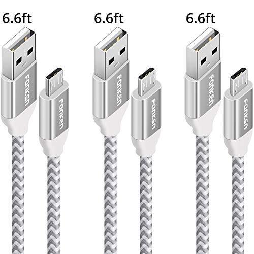 Micro USB Android Charger Cable, FONKEN USB to Micro USB Cables [3-Pack,6.6FT] High Speed USB2.0 Sync and Charging Cables for Compatible Samsung, HTC, Motorola, Nokia, Kindle, MP3, Tablet etc. (White)