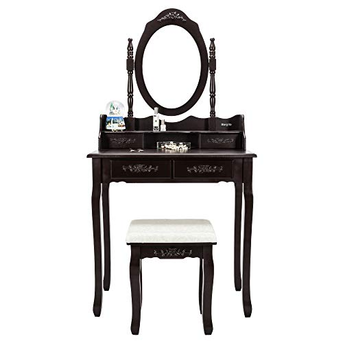 Bonnlo Princess Girls Vanity Table Set with 4 Drawers Makeup Dressing Table with Rotatable Mirror&Cushioned Stool for Girl (Bench Divider)