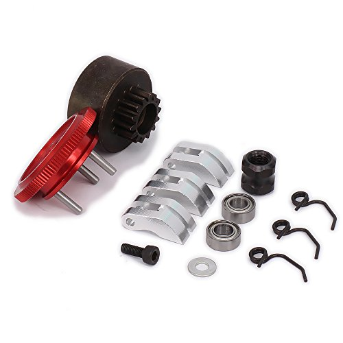 RCAWD Clutch Bell 14T Gear Flywheel Assembly Bearing Clutch Shoes Springs Cone Engine Nut D10201 for 1/8 RC Hobby Model Nitro Car HPI HSP Traxxas Axial Himoto 1set(Shipped Locally)(Red)