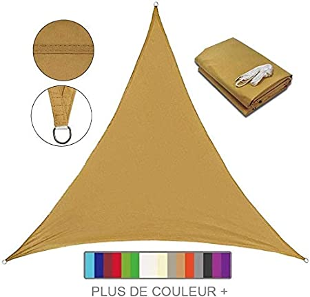 Velo De Sombra Impermeable Triangular, 95% Anti UV UV Pergola Car Shelter para Patio Al Aire Libre, Jardín, Invernadero, Terraza Y Lona De Sombra para Acampar,KHAKI-3X4X5m: Amazon.es: Hogar