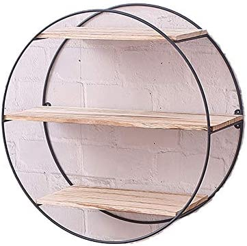 Iron Wood Round-Shaped Decorative Shelf for Entryway Living Room Bedroom Pantry