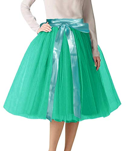 CahcyElilk Knee Length Tulle Skirt Midi Green Tutu Tulle Prom Princess Party Dance Skirt with Belt Green Large
