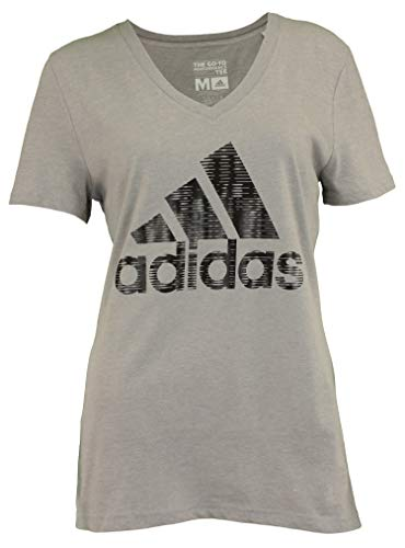 - adidas Women's Bold Logo Go-to Performance Tee, Grey Large