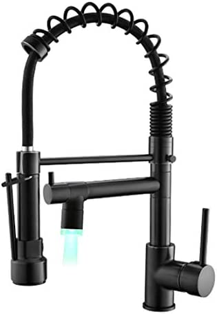 Qidian Black Kitchen Faucet,Commercial Single Handle Pull Down Sprayer Kitchen Sink Faucet with LED Spout