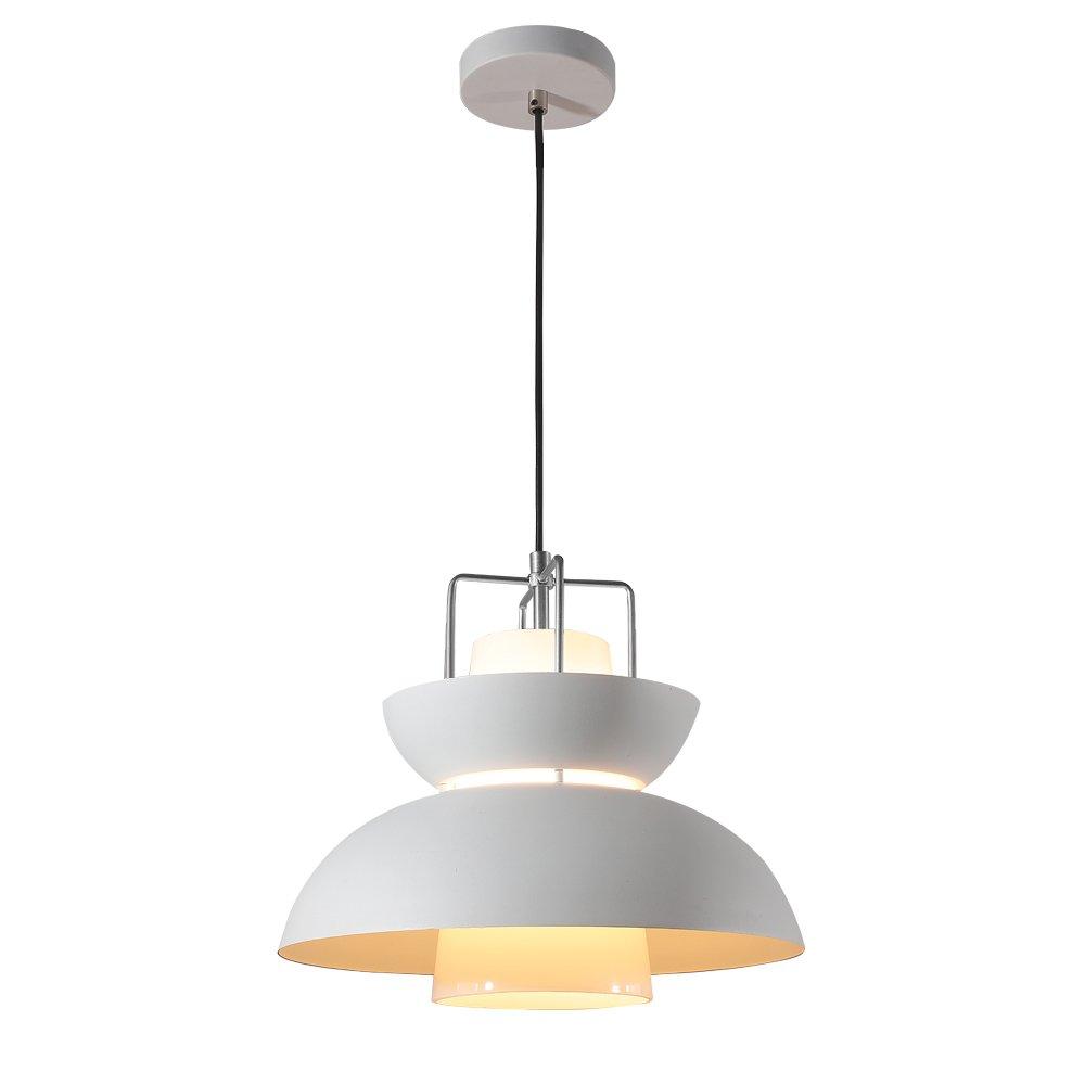 Mstar Pendant Lighting Fixture, Modern Vintage Pendant Light, Ceiling Luxury Encased in Glass, Great for Kitchens, Restaurants, Hotels and Premium Shops (White, M)