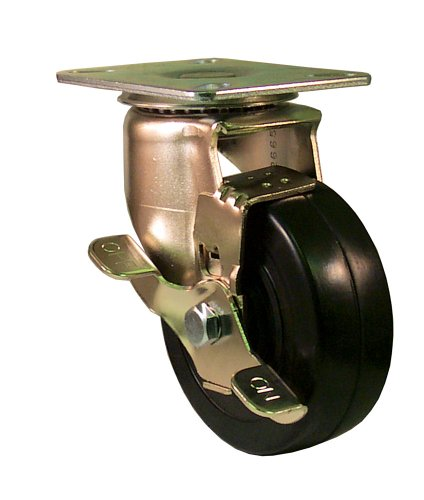 200 Rubber Lb Soft - E.R. Wagner Americaster Plate Caster, Swivel with Strap Brake, Dust Cover, Soft Rubber Wheel, Roller Bearing, 200 lbs Capacity, 4