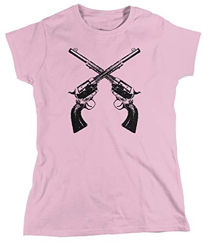 Amdesco Women's Crossed Guns Revolvers T-Shirt, Light Pink Medium