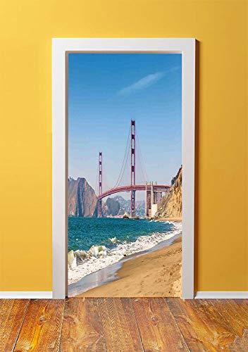 Landscape 3D Door Sticker Wall Decals Mural Wallpaper,Panoramic View of Golden Gate Bridge San Francisco Coastline Nature Seascape,DIY Art Home Decor Poster Decoration 30.3x78.4285,Blue Turquoise