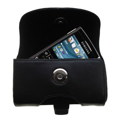 Belt Mounted Leather Case Custom Designed for the Samsung SGH-i617 - Black Color with Removable Clip by - I617 Snap