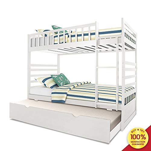 Hooseng Twin Over Full Size Platform Storage Trundle Solid Wood Bunk Bed Finish (White) (Full Size Bed With Trundle And Storage)