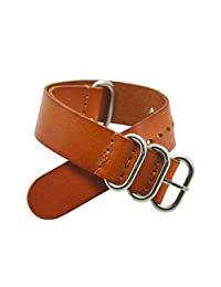 Nato Style Leather Watch Strap Band Bracelet Silver Stainless Steel Buckle (Brown) (20mm)