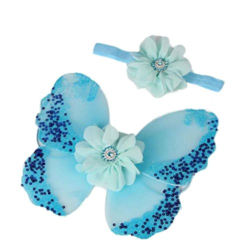 DZT1968 Baby Girl Headband with Butterfly Wing Costume Photo Prop Outfit (Blue) -