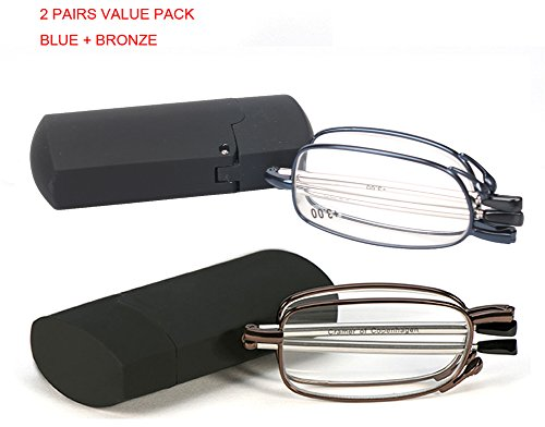 SOOLALA Metal Aolly Frame Folding Magnifying Compact Reading Glasses Reader w/ Case, BlueBronze, - Mens Glasses Reading Uk