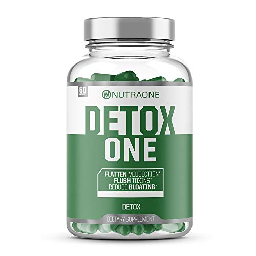 DetoxOne Natural Detox Cleanse Supplement by NutraOne - Detox Pills to Help Flush Toxins and Decrease Bloating (60 Capsules)