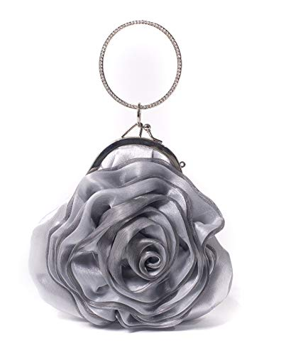 (ILISHOP Women's Satin Rosette Bridal Bridesmaid Clutch Flower Wristlet Wedding Handbag Rhinestone Ring Handle Evening Bag (Silver))