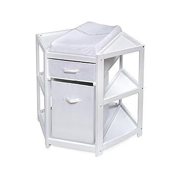 Image of Baby Badger Basket Diaper Corner Baby Changing Table with Hamper/Basket, White