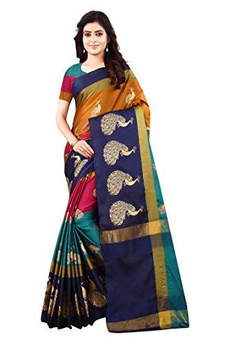 Dhruvi Trendz Women's Z-card Foil Print CottonSilk Saree For Women Banarasi Saree Under 449 2021 Beautiful For Women…