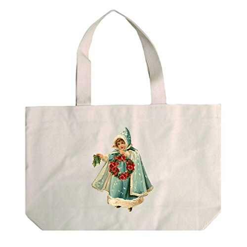 Natural Canvas Beach Tote Girl In Blue Coat Vintage Look By Style In Print by Style in Print (Image #1)'