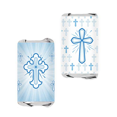 - Blue Baptism Party Mini Candy Bar Wrappers for Boy | Religious Cross | 54 Stickers