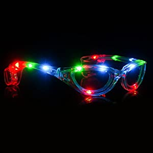 Fun Central I446 LED Light Up Sunglasses, Flashing Sunglasses, LED Party Sunglasses - Great for Glow Parties, Christmas Parties, Birthday Parties, Halloween, New Year's Eve and More - Multicolor