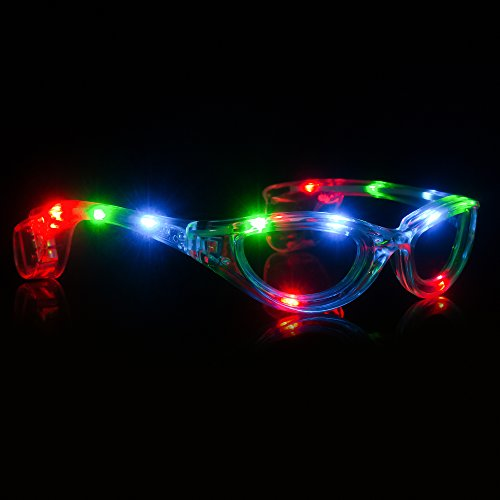 Fun Central I446, 1 Pc, Multicolor LED Light Up Sunglasses, Flashing Sunglasses for Kids, Glow Sunglasses, Mardi Gras Party Accessory, Holiday Favors and Decoration