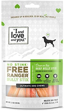 """I and love and also you"" Free Ranger Natural Grain Free Bully Stix - 100% Bully Stick / Beef Pizzle (6-inch and 12-inch)"